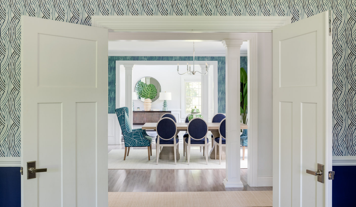 blakely interior design newport new england traditional design in east greenwich view of formal dining room from the hallway